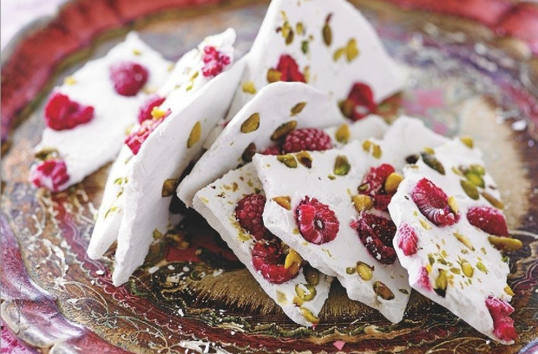 Coconut Bark with Rosewater, Pistachios and Cranberries